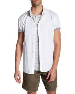 Short Sleeve Cuffed Trim Fit Shirt