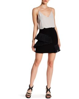 Stone Ruffled Mini Skirt
