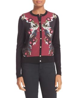Bejewelled Shadows Print Woven Front Cardigan