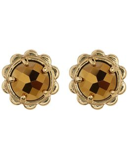 Gold Plated Scallop Edge Stone Stud Earrings