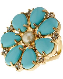Gold Plated Mix Stone Glass Pearl Accented Flower Cocktail Ring
