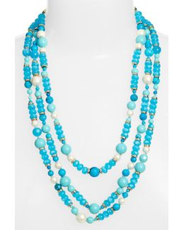 Gold Plated Multi-strand Beaded Necklace