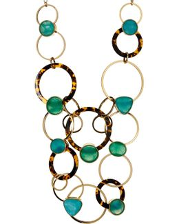 Gold Plated Rhinestone & Ring Link Statement Necklace