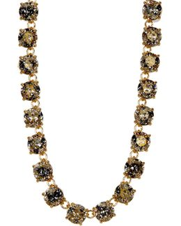 Gold Plated Round Cut Swarovski Crystal Necklace