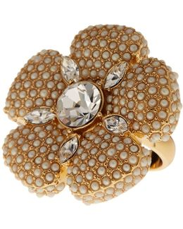 Gold Plated Faux Pearl Pave Flower Cocktail Ring