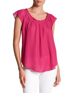 Pleated Back Tie Blouse