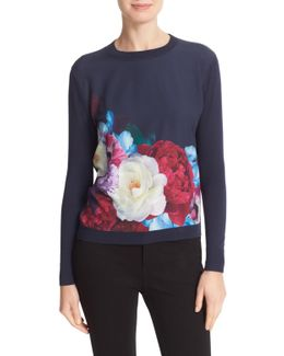 Islii Blushing Bouquet Woven Front Sweater