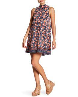 Mock Neck Printed Swing Dress