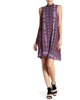 Mock Kneck Sleeveless Print Dress