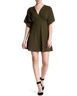 Lace-up Drape Shift Dress