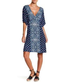 Short Dolman Sleeve V-neck Dress