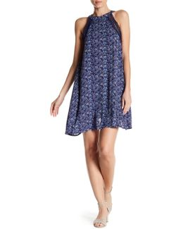 Crochet Lace Trim Floral Print Dress
