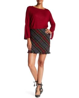 Tartan Plaid Frayed Trim Skirt