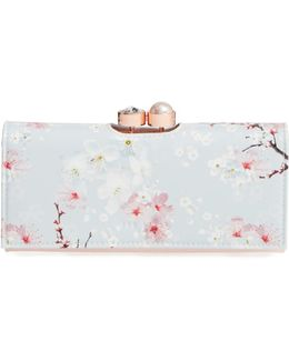Blossom Print Leather Wallet