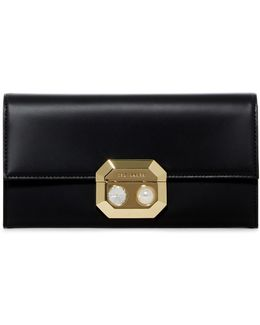 Pammy Pearl Lock Front Flap Leather Matinee Purse
