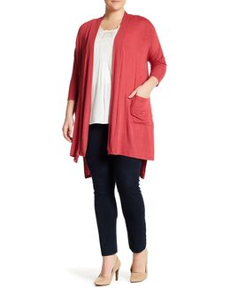 Pocket Front Cardigan (plus Size)