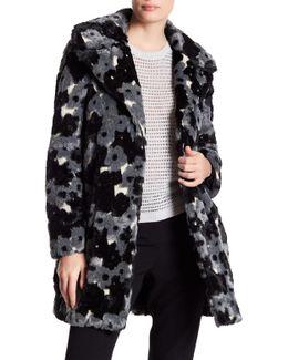 Faux Fur Floral Pattern Jacket