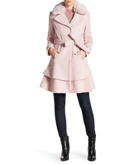 Faux Fur Collar Wool Blend Waist Belt Coat