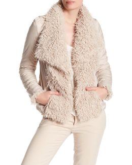 Draped Collar Faux Fur Jacket