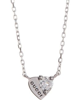 18k White Gold Trademark Diamond Heart Necklace