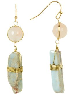 Stone And Jasper Dangle Earrings
