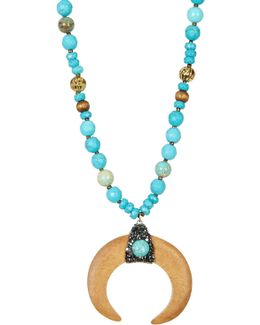 Turquoise Beaded Wood Horn Pendant Necklace