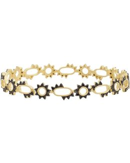 14k Gold Plated Sterling Silver Harlequin Edge Spiked Openwork Bangle