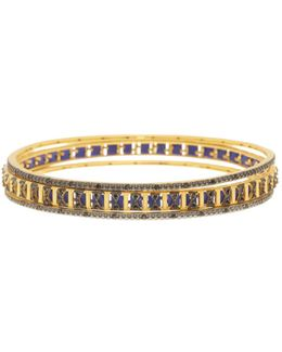 14k Gold Plated Sterling Silver Indigo Armour Bangles - Set Of 3