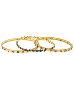 14k Gold & Rhodium Plated Cz Stud & Clover Bracelet Set - Set Of 3