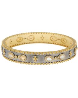 14k Gold & Rhodium Plated Infinity Mother Of Pearl & Cz Station Bracelet