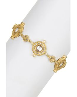 14k Gold Plated Sterling Silver Cz Compass Station Bracelet