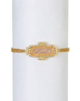 14k Gold Plated Sterling Silver Cz & Rose Quartz Bar Bracelet