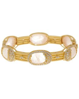 14k Gold Plated Sterling Silver Rose Quartz Mirror Mirror Cz Pave Bracelet