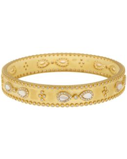Cubic Zirconia, Mother-of-pearl Bangle Bracelet