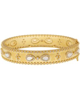 14k Gold Plated Sterling Silver Cz & Mother Of Pearl Bracelet