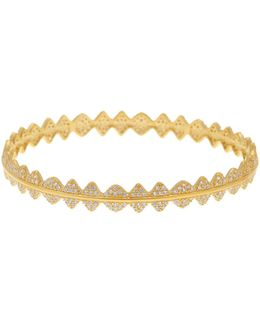 14k Gold Plated Sterling Silver Cz Pave Crown Bangle Bracelet