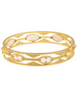 14k Gold Plated Textured Mother Of Pearl & Cz Eyelet Bracelet Set - Set Of 3