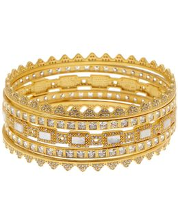 14k Gold Plated Sterling Silver Cz And Textured Mother Of Pearl Bracelet Set - Set Of 5