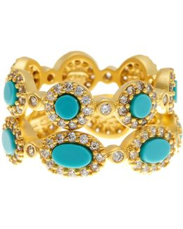 14k Gold Plated Sterling Silver, Cz, & Turquoise Rings - Set Of 2