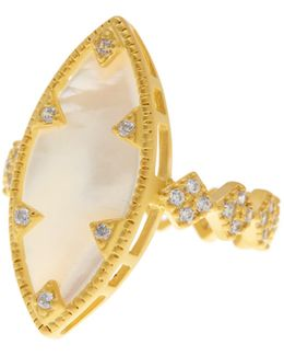 14k Gold Plated Sterling Silver Cz Mother Of Pearl Marquis Ring - Size 8