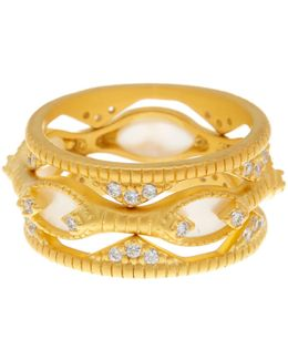 14k Gold Plated Sterling Silver Textured Mother Of Pearl & Cz Eyelet Rings - Set Of 3 - Size 8