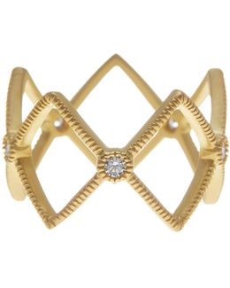 14k Gold Plated Sterling Silver Open Diamond-shape Cz Ring - Size 9