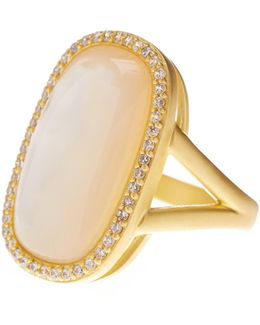 14k Gold Plated Sterling Silver Mother Of Pearl Cabochon & Cz Ring