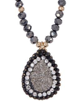 Luxe Beaded Teardrop Pendant Necklace