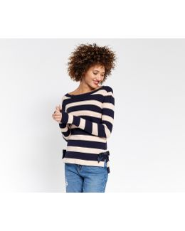 Bow Hem Stripe Knit