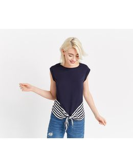 Stripe Blocked Tie Front Tee