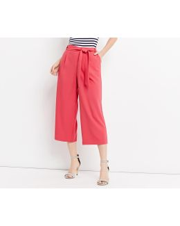 Plain Crop Wide Leg Trousers