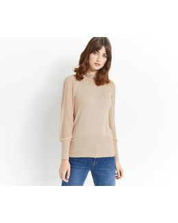 Lace Sheer Sleeve Knit