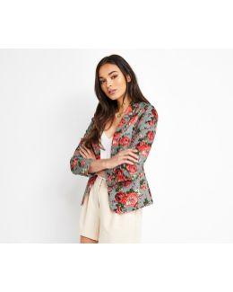 Rose Print Suit Jacket