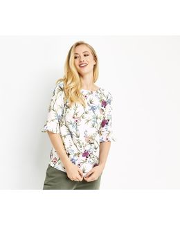 Floral Flute Sleeve Top